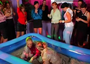 Erotic event with fantastic whores wrestling in mud