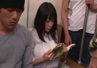 Guys on the bus fondle and mouth fuck a sweet Japanese girl