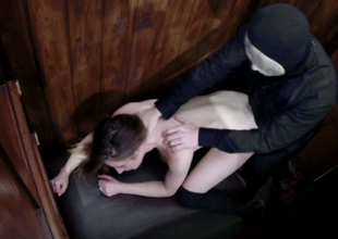 Slutty dark brown chick Samantha Bentley gets her twat hammered in confessional