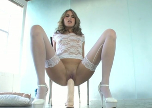 Playful blonde bitch with awesome body Kara enjoys masturbation