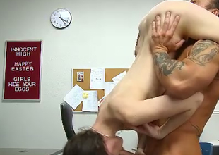 Nasty pale skin student angel fucked hard in the class