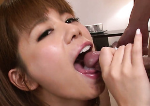 Milf Airu Oshima with huge hooters has some time to give some oral pleasure