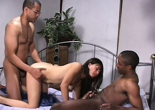 Three horny guys use their pulsating peckers to pound this Latina cutie