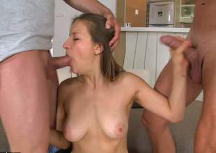 Sweet Adelia with large natural tits takes off her red panties after double oral-job and gets her hairless wet crack penetrated. This busty gal loves group sex. She handles two stiff dicks like a pro!