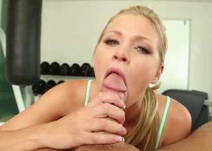A lustful blond with short hair has two affections, gym and riding cocks. And when that babe does both at the same time, that babe feels real good. In fact, so good that that babe cums quite a lot