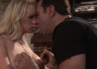 Blond-haired sexy MILF Stormy Daniels with large breasts shows her assets to hot dude previous to that guy finds his beefy dong in her hot mouth. She takes it up her wet trimmed bush after dong engulfing