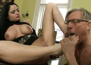 Anastasia Brill enjoys cock sucking too much to stop in oral action with Christoph Clark
