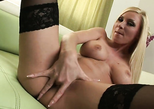 Helena Sweet with massive hooters and shaved bawdy cleft gets the pleasure from masturbating like never previous to