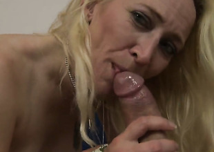 Blonde Angeline lets fellow insert his fellow meat in her mouth