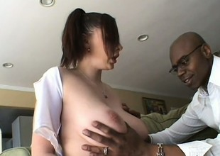 Big breasted college angel surrenders her wet cookie to a huge black rod
