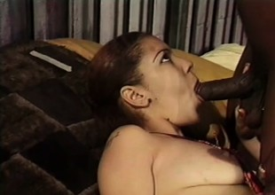 Lovely caramel angel gets her twat eaten out and fucked by a black stud