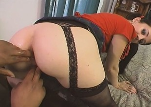 Feisty fishnet slut is eager to go for a ride on some dark dick