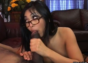 Oriental beauty Mika Tan has a massive black dick fulfilling her desires