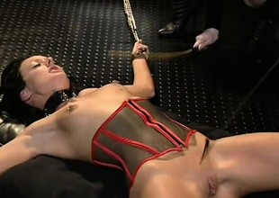 Tied up chick can do no thing to resist this nasty cookie punishment