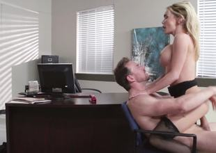 A hot blond is getting her cum-hole widen open in the office today