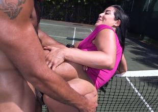 Fit stud copulates his large dick into the tight cunt of a sexy Latin chick slut
