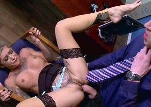 Blond with a sexy face is getting rammed by a dick in the office