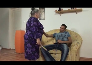 large beautiful woman granny takes youthful strapon