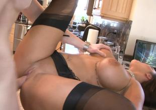 Nylons and garter belt sex with a seductive housewife