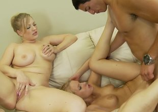 Two kinky angels are getting their tits and asses out for a threesome