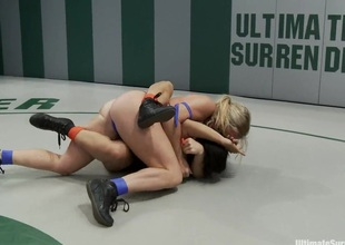 Dragon Destroyed on the Mat Made to CUM During Wrestling That babe is in tears trying not to cu