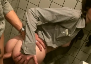 Banging in a public bath with a super cute slut