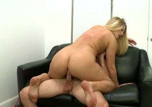 Blond honey with a bubble butt Katie Banks rides a large meat pole