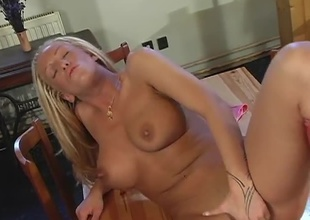 Large tit blonde Judy Blond knows how to work the dick. This babe starts off this scene by rubbing her hot pussy and then eventually gets joined by two throbbing hard cocks! This babe takes it in the booty and in the cunt at the same time before swallowing a double dose