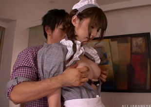Japanese maid involved in sexy clothed sex scene
