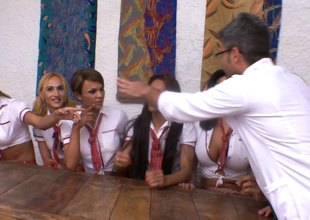 Beautiful trannies gang bangs their male teacher shamelessly in class