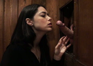 Alluring brunette hair bitch with sexy body Ava Dalush sucks dick on the confessional