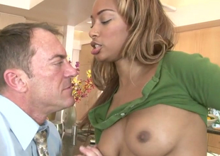Stunning black babe Bella Moretti gets fucked hard by a horny guy