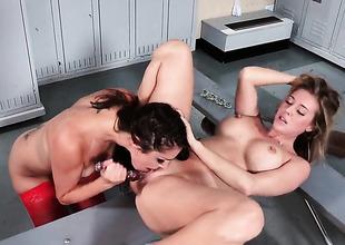 Samantha Saint eats pussy in locker room