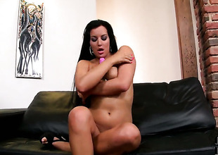 Carmen Croft does striptease previous to this babe plays with her twat