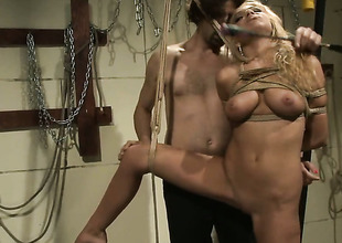 Blonde gets her mouth stretched by powerful hard love stick of sexy guy