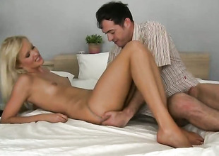 Blond Andrea Francis enjoys some dick sucking in oral action with James Brossman