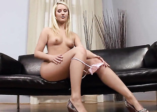 With tiny tits and shaved snatch has some time to rub her muff