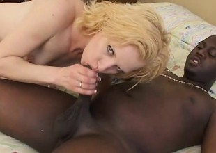 Slutty golden-haired chick screams as this black dick penetrates her
