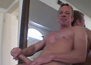 Distinguished businessman Mike Hawk shows off his muscles, sweet smile, and large dick! You're for sure to be hooked on  this stud! Watch as this chab shows us one of his routines with his dick! He strips off all his clothes, commences to stroke and eventually sho