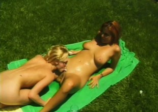Ginger-head courtesan and her lovely blonde partner have good sex