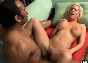 Large breasted golden-haired Angel Mariah rides a huge dick balls unfathomable