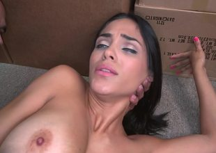 Amateur Latina with tan lines is fucking in the storage room