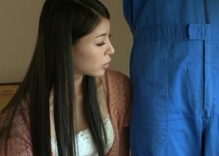 Japanese AV Model horny housewife gets a creamed pussy