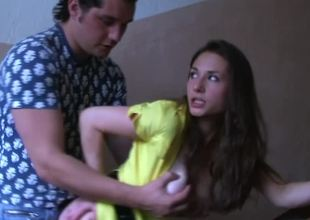 A breasty harlot gets her clothing ripped off and that babe sucks dick