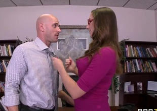 Paige Turnah bonks with her boyfriend Johnny Sins at her chief's table