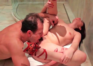 Ava Dalush engulfing erect prick and getting drilled from behind