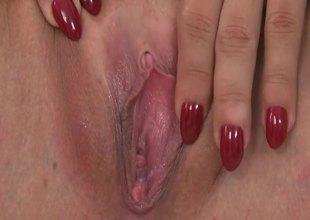 Marvelous pornstar uses iron dildo for reaching orgasm
