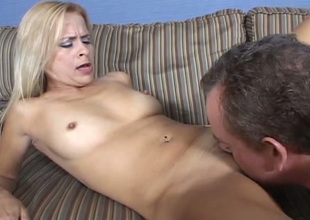 Bosomy pallid auburn lady gives BJ and rides dick after getting pussy eaten
