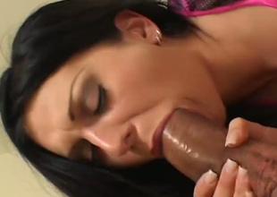 Alluring hot brunette Renee Pornero is busy with working on two dicks