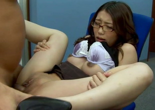 Both wet cunt and hungey anus of secretary Ibuki are polished in office